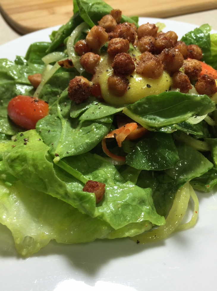 salad-with-eggy-dressing-roasted-chick-peas