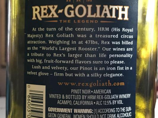 REX-GOLIATH 47 POUND ROOSTER PINOT NOIR 2